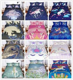 3D Bohemia Rainbow Unicorn Kids Duvet Cover Set Pillowcase Q