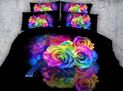 3D Colorful Rose Bedding Set Twin Full Queen King Cal King S