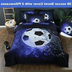 3D Football Soccer Duvet Quilt Cover Bedding Set Pillowcase