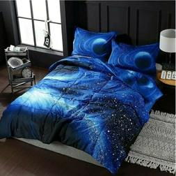 3D Galaxy Space Comforter Set Queen w 2 Shams Free Shipping