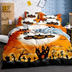 3D Halloween Pumpkin Ghost Bedding Set Duvet Cover Comforter