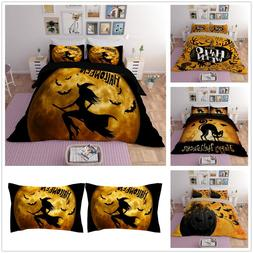 3d halloween witch cat bedding quilt cover