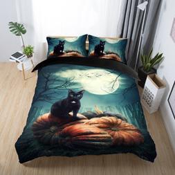 3D Moon Night Cat Halloween Bedding Set Duvet Cover Pillowca