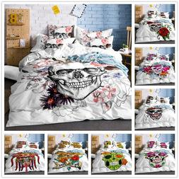 3D Skull Flowers Bedding Set Duvet Cover Halloween Pillowcas