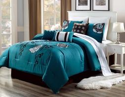 3PC ALEX #3 TEAL BROWN WHITE FLOWERS Embroidered DUVET COMFO