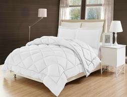 3PC Cotton Down Alternative White Comforter Bed Cover Set Wi