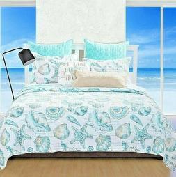 3pc CRUZ King Quilt Set Coastal Beach Sea Shore Ocean Conch
