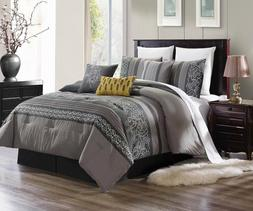 3PC DUVET BED COMFORTER COVER SET SILVER GREY YELLOW EMBROID