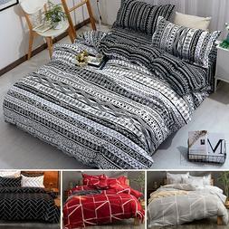 3Pcs Soft 100% Microfiber Duvet Cover Set Bohemia Striped Co