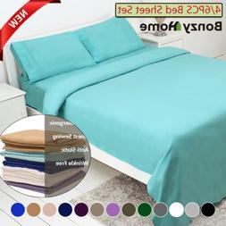 4/6 Piece Bed Sheet Set Deep Pocket Sheets Queen King Full S