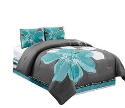 4 Pc Aqua Blue, Grey, White Hibiscus Floral CAL KING Size Co