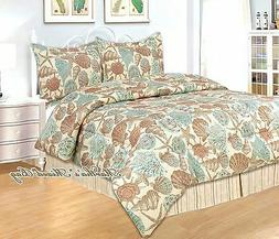4-pc Comforter Set KING or QUEEN Size Teal SEASHELL STARFISH
