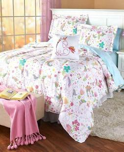 4 PC Full Queen Unicorn Comforter Shams & Accent Pillow Set