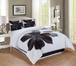 4 Pc Grey White Black Hibiscus Floral Comforter Set Bedding