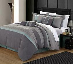 Chic Home 43CK117-US Euphoria Embroidered Comforter Set - Aq