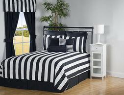 9pc Black/White Modern Sleek Striped Comforter Set Full