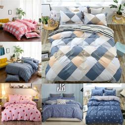 4Pcs Bedding Set +2 Pillow Case Comforter Quilt Cover Twin F