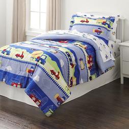 5-Piece Boys Comforter Sheet Set Green Blue Red Twin Planes