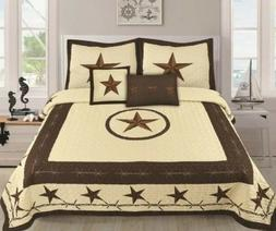 5 piece Quilt Texas Western Star Cowboys Quilt Bedspread Set
