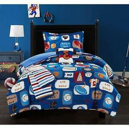 5 Piece Full Blue White Kids Sports Themed Comforter Set Red