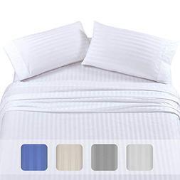 Premium Quality 500 TC 100% Pure Cotton Sheets - 4-Piece Whi