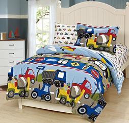 Fancy Linen 5pc Boys Twin Comforter and Sheet Set Trucks Tra