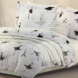 5pc Nicole Miller Paris TWIN Comforter Set Eiffel Tower Blac