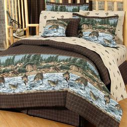 6-10 PC Salmon Trout Fish Bedding Set B.R.T River Fishing Co