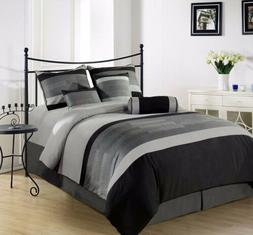 Chezmoi Collection 6-Piece 3-Tone Embroidered Comforter Set
