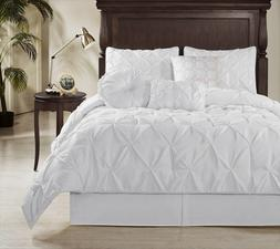 6 Piece Elegant Sydney Pintuck Comforter Set Twin White