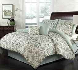 TRADITIONS BY WAVERLY 6 PIECE FLORAL QUEEN COMFORTER SET FEL