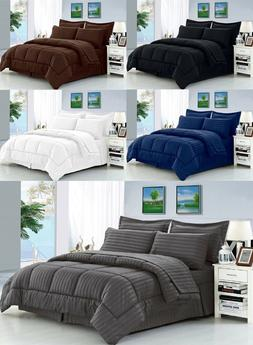 6 Piece or 8 Piece Dobby Stripe Bed in a Bag Comforter Beddi
