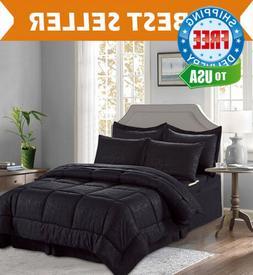 Elegant Comfort 67RW-8PC-Bamboo-Comforter-Q-Black Comforter