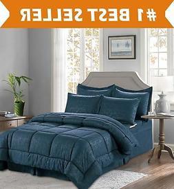 Elegant Comfort 67RW-8PC-Bamboo-Comforter-Q-Navy Comforter S