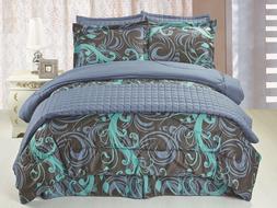 6pc Comforter & Quilt Set Reversible Blue, Black & Teal Swir