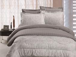 6pc Comforter & Quilt Set Reversible Grey & Light Green Pais