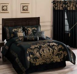 7 P Black/Gold Comforter Set Floral Damask Queen/King Size B