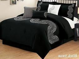 7 PC Black & White Embroidered Microfiber Comforter Set Full