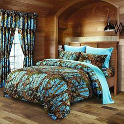7 PC FULL POWDER BLUE CAMO COMFORTER AND SHEET SET! BEDDING