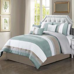 7-PC Luxury Leal Comforter Set Includes: Comforter, Skirt, T