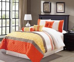 7 pc Microfiber White, Orange and Yellow Striped Comforter S