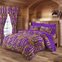 7 pc Purple King size comforter sheets and pillowcases set i