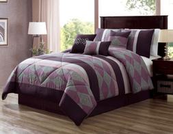 7 PC Purple Plum Comforter Set King Or Queen Size AT Linen P