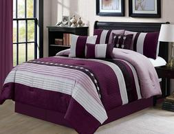 7 PC Oversize Striped Comforter Set Bedding with Accent Pill