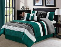 7 Piece Oversize Striped Comforter Set Bedding with Accent P