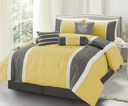 7 Pc. Yellow and Grey Embroidered Comforter Set- Queen- Bran