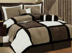 7 PCS  Black & Brown MicroSuede Patchwork Comforter Bedding