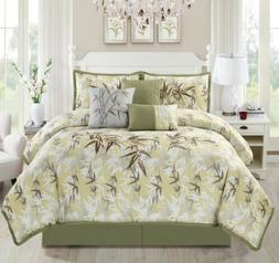 Chezmoi Collection 7-Piece Bamboo Forest Embroidery Comforte