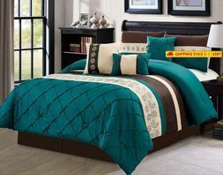 Luxlen 7 Piece Bed in Bag Comforter Set, Cal King, Green