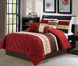 Luxlen 7 Piece Bed In Bag Comforter Set, Queen, Red,